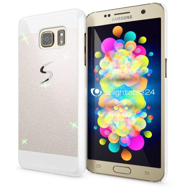 NALIA Handyhülle kompatibel mit Samsung Galaxy S7, Glitzer Slim Hard-Case Hülle Back-Cover Schutzhülle, Bumper Handy-Tasche Schale im Glitter Design, Dünnes Bling Strass Etui Smart-Phone Skin - Weiß – Bild 1