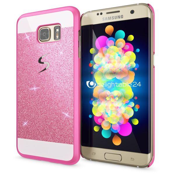 NALIA Handyhülle kompatibel mit Samsung Galaxy S7 Edge, Glitzer Slim Hard-Case Hülle Back-Cover Schutzhülle, Handy-Tasche Schale im Glitter Design, Dünnes Bling Strass Etui Smart-Phone Skin - Pink – Bild 1