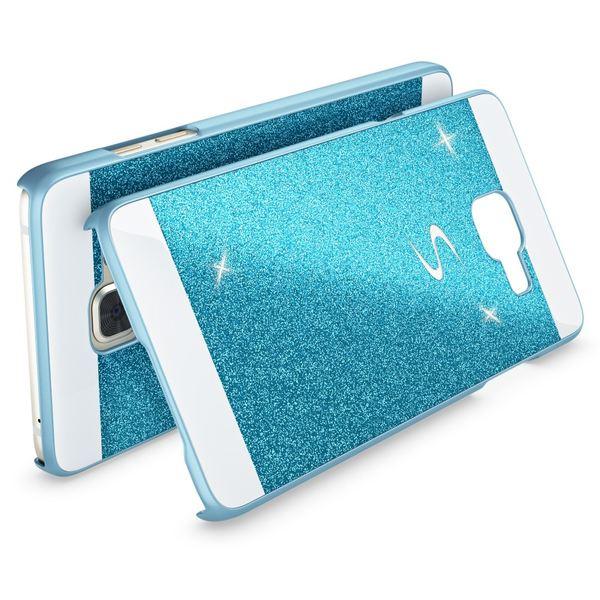 NALIA Handyhülle kompatibel mit Samsung Galaxy A3 2016, Glitzer Slim Hard-Case Hülle Back-Cover Schutzhülle, Handy-Tasche im Glitter Sparkle Design, Dünnes Bling Strass Etui Smart-Phone Skin - Blau – Bild 2