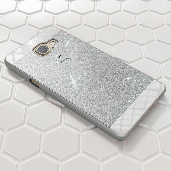 NALIA Handyhülle kompatibel mit Samsung Galaxy A3 2016, Glitzer Slim Hard-Case Hülle Back-Cover Schutzhülle, Handy-Tasche im Glitter Sparkle Design, Dünnes Bling Strass Etui Smart-Phone Skin - Silber – Bild 4