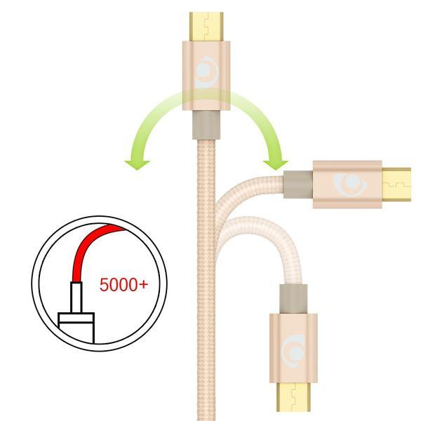 NALIA 1m Micro USB Kabel, Stabiles Nylon umflochtenes Sync Handy High Speed Ladekabel/ Datenkabel kompatibel mit z.B. Android Smartphones, Samsung, Huawei, HTC, LG, Sony, Nokia etc. - Gold – Bild 3