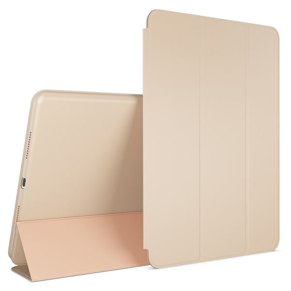 NALIA Smart-Case kompatibel mit iPad Pro 9,7 (2016), Slim Tablet Cover Schutzhülle, Kunst-leder Hardcase Multi-Ständer Tasche, Display-Schutz & Backcover Flip-Case Klapphülle Sleeve - Beige Grau – Bild 1