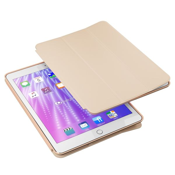 NALIA Smart-Case kompatibel mit iPad Pro 9,7 (2016), Slim Tablet Cover Schutzhülle, Kunst-leder Hardcase Multi-Ständer Tasche, Display-Schutz & Backcover Flip-Case Klapphülle Sleeve - Beige Grau – Bild 2