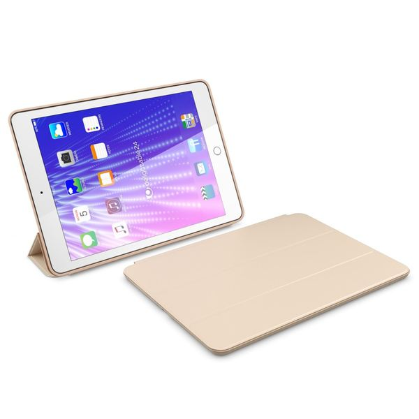 NALIA Smart-Case kompatibel mit iPad Pro 9,7 (2016), Slim Tablet Cover Schutzhülle, Kunst-leder Hardcase Multi-Ständer Tasche, Display-Schutz & Backcover Flip-Case Klapphülle Sleeve - Beige Grau – Bild 6