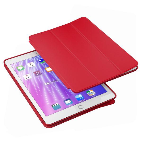 NALIA Smart-Case kompatibel mit iPad Pro 9,7 (2016), Slim Tablet Cover Schutzhülle, Kunst-leder Hardcase Multi-Ständer Tasche, Display-Schutz & Backcover Flip-Case Klapphülle Sleeve - Rot – Bild 2