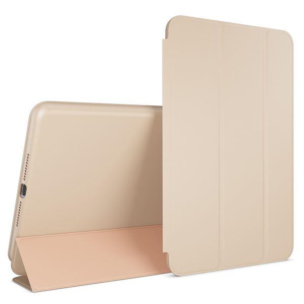 NALIA Smart-Case kompatibel mit iPad Mini 4, Ultra-Slim Cover Dünne Tablet Schutzhülle, Kunst-leder Hardcase Multi-Ständer Tasche, Display-Schutz & Backcover Flip-Case Klapphülle Sleeve - Beige Grau – Bild 1