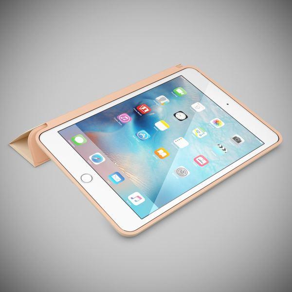 NALIA Smart-Case für Apple iPad Mini 4, Ultra-Slim Cover Dünne Tablet Schutzhülle, Kunst-leder Hardcase Multi-Ständer Tasche, Display-Schutz & Backcover Flip-Case Klapphülle Sleeve - Beige Grau – Bild 2
