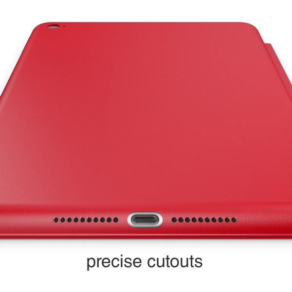 NALIA Smart-Case kompatibel mit iPad Mini 4, Ultra-Slim Cover Dünne Tablet Schutzhülle, Kunst-leder Hardcase Multi-Ständer Tasche, Display-Schutz & Backcover Flip-Case Klapphülle Sleeve - Rot – Bild 5