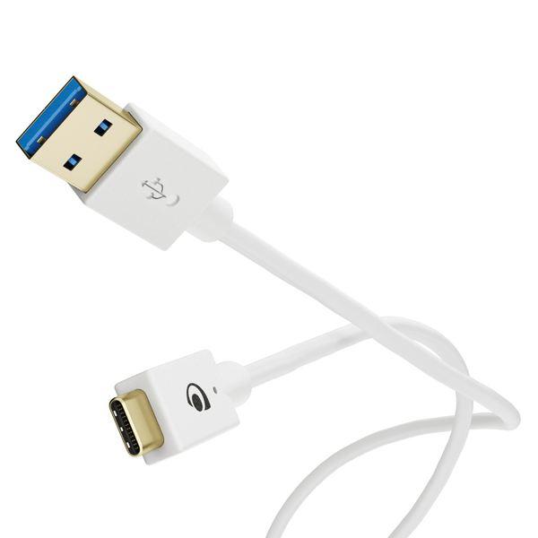 NALIA 1m USB C auf USB 3.0 Kabel, Sync High-Speed Ladekabel Datenkabel Verbindungskabel kompatibel mit USB 3.1 Typ C Geräte z.B. Macbook, Chromebook Pixel, Samsung S8, Huawei P10, GoPro etc. - Weiß – Bild 1