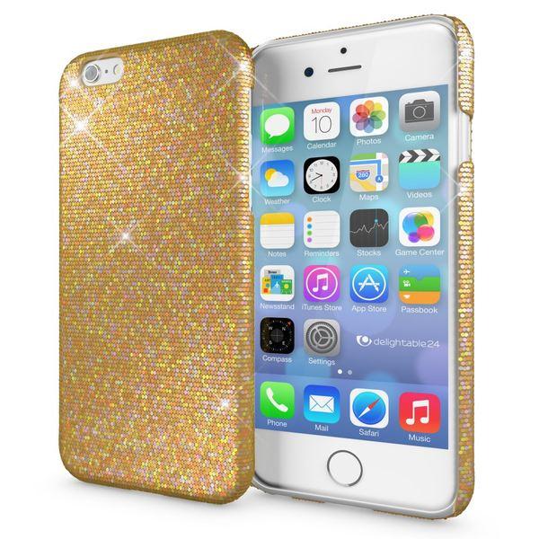 NALIA Handyhülle kompatibel mit iPhone 6 6S, Glitzer Slim Hard-Case Back-Cover Schutz-Hülle, Handy-Tasche im Glitter Sparkle Design, Dünnes Bling Strass Etui Schale Smart-Phone Skin - Gelb Gold – Bild 1