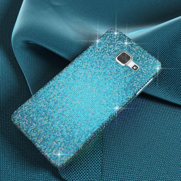 NALIA Handyhülle kompatibel mit Samsung Galaxy A3 2016, Glitzer Slim Hard-Case Hülle Back-Cover Schutzhülle, Handy-Tasche im Glitter Sparkle Design, Dünnes Bling Strass Etui Smart-Phone Skin - Türkis – Bild 4