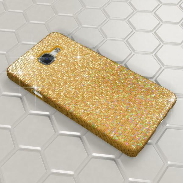 NALIA Handyhülle kompatibel mit Samsung Galaxy A3 2016, Glitzer Slim Hard-Case Hülle Back-Cover Schutzhülle, Handy-Tasche im Glitter Sparkle Design, Dünnes Bling Strass Etui Phone Skin - Gelb Gold – Bild 3