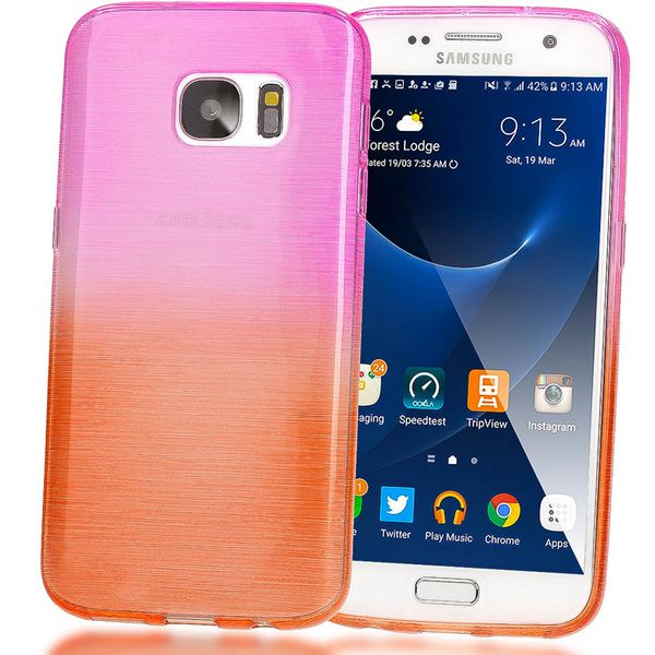 NALIA Handyhülle kompatibel mit Samsung Galaxy S7, Regenbogen Schutz-Hülle Ultra-Slim Silikon Crystal Case Dünn Durchsichtig, Handy-Tasche Back-Cover Etui Transparent Phone Bumper - Pink / Orange – Bild 1