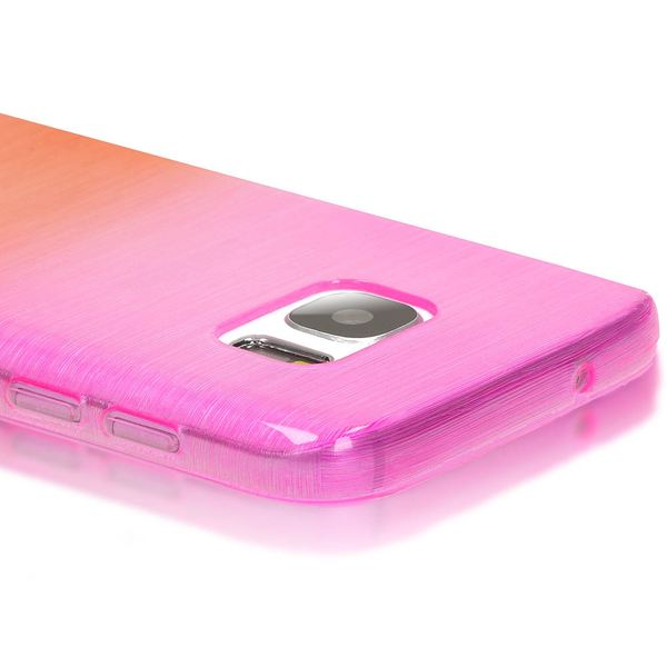 NALIA Handyhülle kompatibel mit Samsung Galaxy S7, Regenbogen Schutz-Hülle Ultra-Slim Silikon Crystal Case Dünn Durchsichtig, Handy-Tasche Back-Cover Etui Transparent Phone Bumper - Pink / Orange – Bild 2