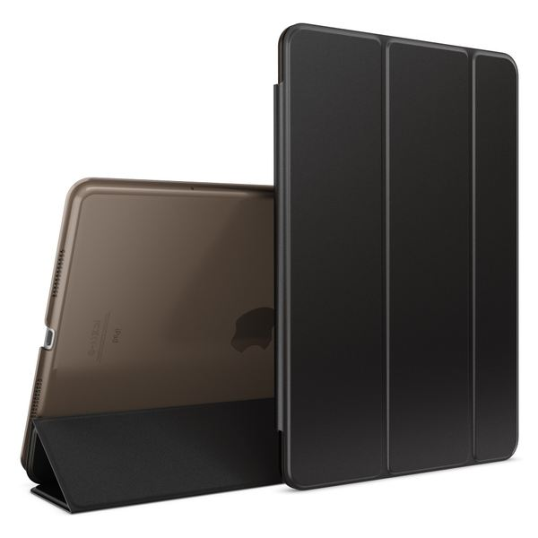 NALIA Smart-Case kompatibel mit iPad Pro 2016 (9,7'), Slim Cover Dünn Tablet Schutzhülle, Kunst-leder Hardcase Multi-Ständer Tasche Display-Schutz& Backcover Flip-Case Klapphülle Sleeve - Schwarz – Bild 1