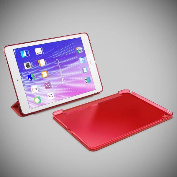 NALIA Smart-Case kompatibel mit iPad Pro 2016 (9,7'), Ultra-Slim Cover Dünn Tablet Schutzhülle, Kunst-leder Hardcase Multi-Ständer Tasche Display-Schutz& Backcover Flip-Case Klapphülle Sleeve - Rot – Bild 6