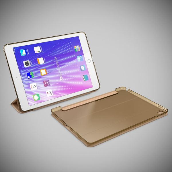 NALIA Smart-Case kompatibel mit iPad Pro 2016 (9,7'), Ultra-Slim Cover Dünn Tablet Schutzhülle, Kunst-leder Hardcase Multi-Ständer Tasche Display-Schutz& Backcover Flip-Case Klapphülle Sleeve - Gold – Bild 8
