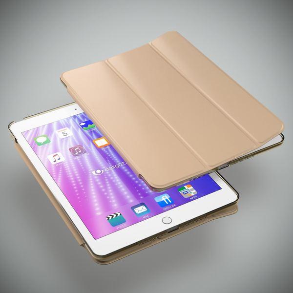 NALIA Smart-Case kompatibel mit iPad Air 1, Ultra-Slim Cover Dünne Tablet Schutzhülle, Kunst-leder Hardcase Multi-Ständer Tasche, Display-Schutz & Backcover Flip-Case Klapphülle Sleeve - Gold – Bild 2