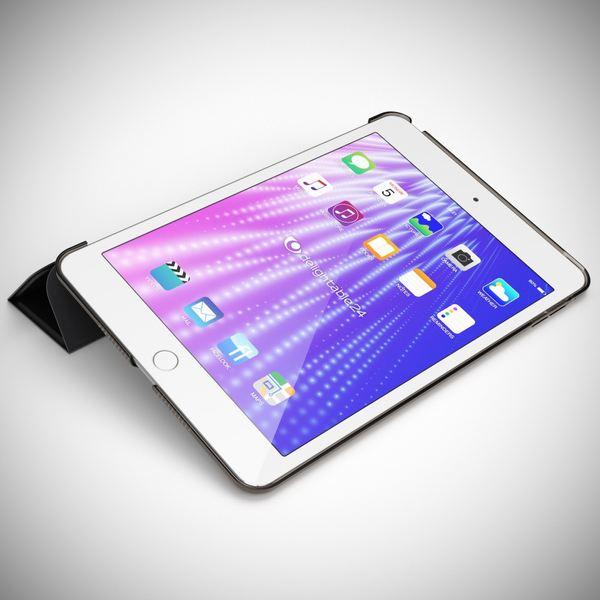 NALIA Smart-Case kompatibel mit iPad Mini 4, Ultra-Slim Cover Dünne Tablet Schutzhülle, Kunst-leder Hardcase Multi-Ständer Tasche, Display-Schutz & Backcover Flip-Case Klapphülle Sleeve - Schwarz – Bild 2