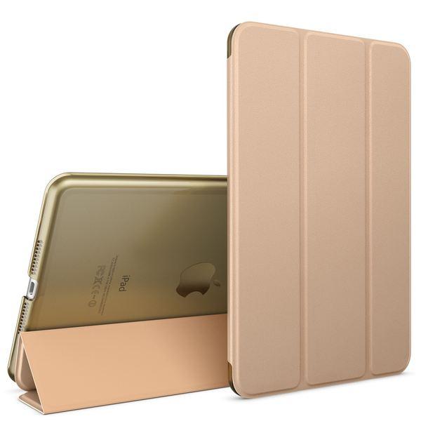 NALIA Smart-Case für Apple iPad Mini 4, Ultra-Slim Cover Dünne Tablet Schutzhülle, Kunst-leder Hardcase Multi-Ständer Tasche, Display-Schutz & Backcover Flip-Case Klapphülle Sleeve - Gold – Bild 1