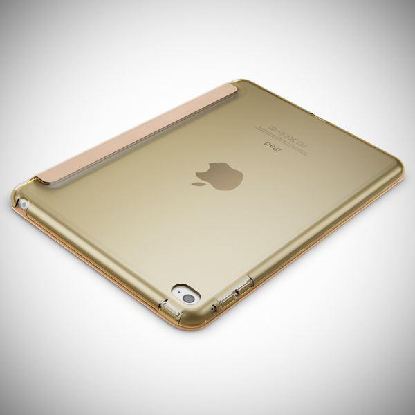 NALIA Smart-Case kompatibel mit iPad Mini 4, Ultra-Slim Cover Dünne Tablet Schutzhülle, Kunst-leder Hardcase Multi-Ständer Tasche, Display-Schutz & Backcover Flip-Case Klapphülle Sleeve - Gold – Bild 3