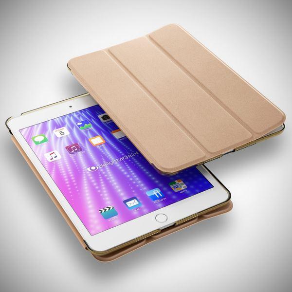 NALIA Smart-Case für Apple iPad Mini 4, Ultra-Slim Cover Dünne Tablet Schutzhülle, Kunst-leder Hardcase Multi-Ständer Tasche, Display-Schutz & Backcover Flip-Case Klapphülle Sleeve - Gold – Bild 6