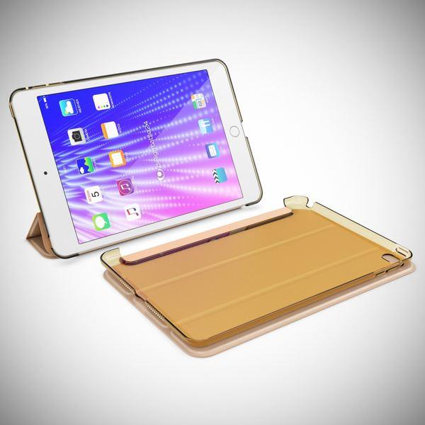 NALIA Smart-Case kompatibel mit iPad Mini 4, Ultra-Slim Cover Dünne Tablet Schutzhülle, Kunst-leder Hardcase Multi-Ständer Tasche, Display-Schutz & Backcover Flip-Case Klapphülle Sleeve - Gold – Bild 8