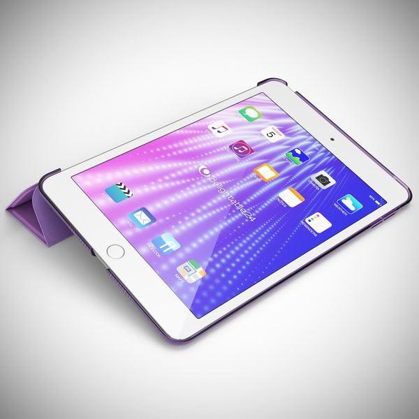 NALIA Smart-Case für Apple iPad Mini 4, Ultra-Slim Cover Dünne Tablet Schutzhülle, Kunst-leder Hardcase Multi-Ständer Tasche, Display-Schutz & Backcover Flip-Case Klapphülle Sleeve - Lila – Bild 2