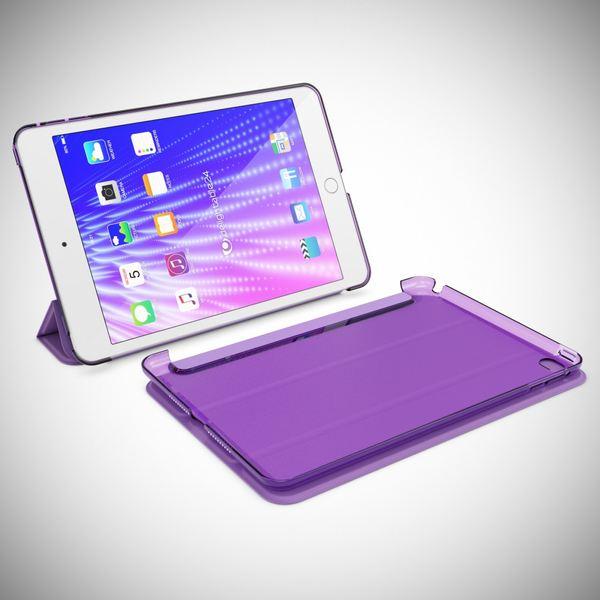 NALIA Smart-Case für Apple iPad Mini 4, Ultra-Slim Cover Dünne Tablet Schutzhülle, Kunst-leder Hardcase Multi-Ständer Tasche, Display-Schutz & Backcover Flip-Case Klapphülle Sleeve - Lila – Bild 8