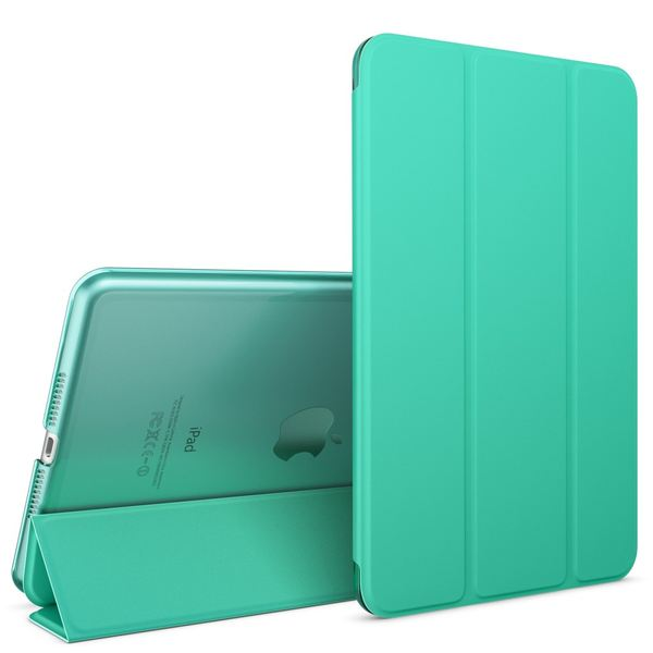Apple iPad Mini 4 Hülle Smart-Case von NALIA, Ultra-Slim Cover Dünne Tablet Schutzhülle, Kunst-leder Hardcase Multi-Ständer Tasche, Display-Schutz & Backcover Flip-Case Klapphülle Sleeve - Türkis – Bild 1