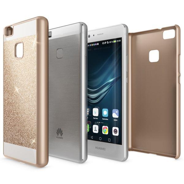 NALIA Handyhülle für Huawei P9 Lite, Glitzer Slim Hard-Case Hülle Back-Cover Schutzhülle, Handy-Tasche im Glitter Sparkle Design, Dünnes Bling Strass Stoßfestes Etui für P9Lite Smart-Phone - Gold – Bild 3
