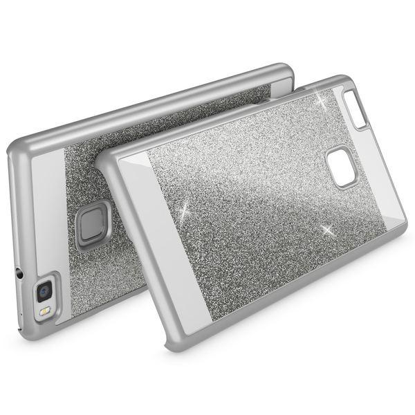 NALIA Handyhülle für Huawei P9 Lite, Glitzer Slim Hard-Case Hülle Back-Cover Schutzhülle, Handy-Tasche im Glitter Sparkle Design, Dünnes Bling Strass Stoßfestes Etui für P9Lite Smart-Phone - Silber – Bild 2