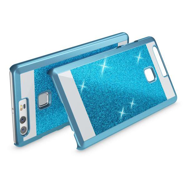 NALIA Handyhülle kompatibel mit Huawei P9, Glitzer Slim Hard-Case Back-Cover Schutzhülle, Handy-Tasche Schale im Glitter Sparkle Design, Dünnes Bling Strass Stoßfestes Etui Smart-Phone Bumper - Blau – Bild 2