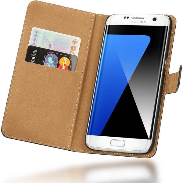 NALIA Klapphülle kompatibel mit Samsung Galaxy S7 Edge, Kunst-Leder Handy Flip-Case Schutzhülle Book-Style Cover, Slim Handyhülle Lederoptik Handy-Tasche Schale Rundum Smart-Phone Schutz - Schwarz – Bild 1