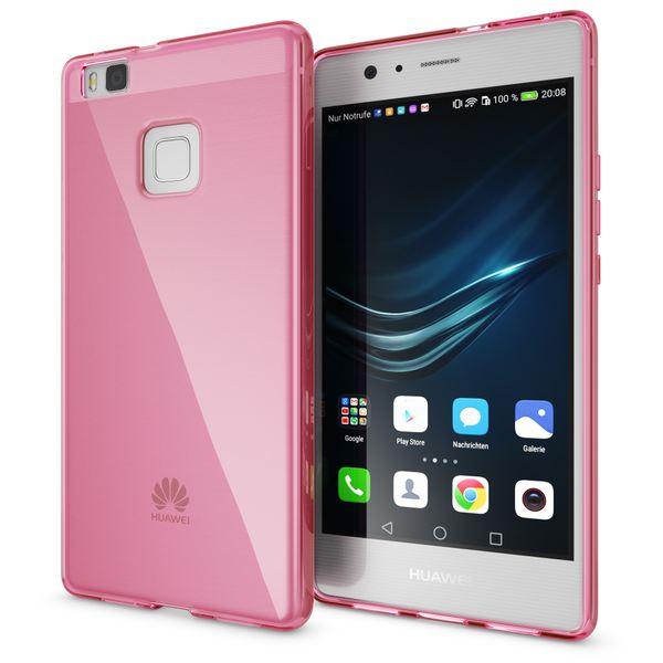 NALIA Handyhülle kompatibel mit Huawei P9 Lite 2016, Ultra-Slim Silikon Case Cover Hülle Dünn Crystal Schutzhülle, Etui Schale Back-Cover Bumper Thin TPU Smart-Phone Gummi - S-Line Transparent Pink – Bild 1
