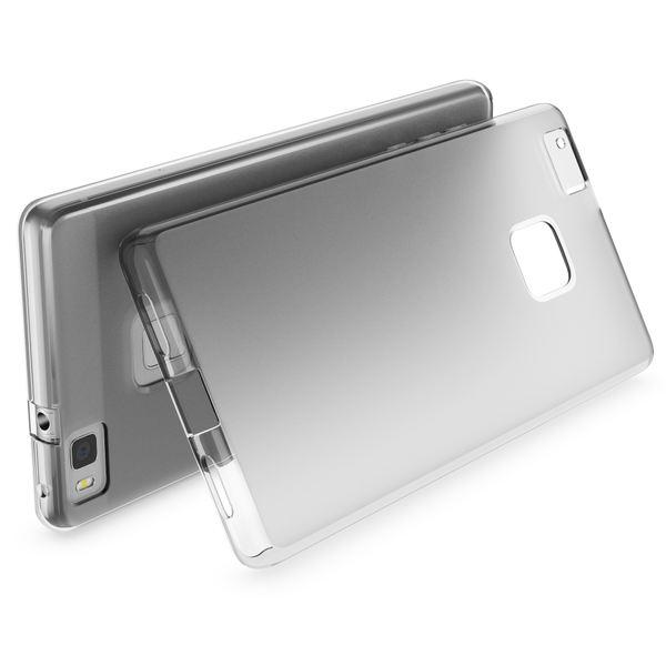 NALIA Handyhülle kompatibel mit Huawei P9 Lite 2016, Ultra-Slim Silikon Case Cover Hülle Dünn Crystal Schutzhülle, Etui Schale Back-Cover Bumper Thin TPU Smart-Phone Gummi - S-Line Transparent Grau – Bild 2