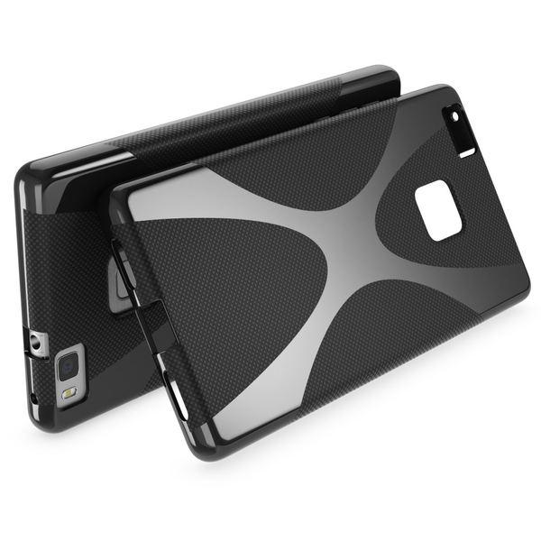 NALIA Handyhülle für Huawei P9 Lite, Ultra-Slim Silikon Case Cover Hülle, Dünne Crystal Schutzhülle, Etui Handy-Tasche Back-Cover Bumper, TPU Gummihülle für P9-Lite Smart-Phone - X-Line Schwarz – Bild 2