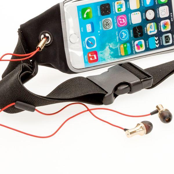 NALIA Bauch-, Gürtel-, Fitnesstasche, Wasserabweisende Softshell Schultertasche für alle Smartphones (kompatibel mit iPhone Samsung Huawei Sony LG …) 5.3-6 inch, mit Eingang für Kopfhörer - Schwarz – Bild 5