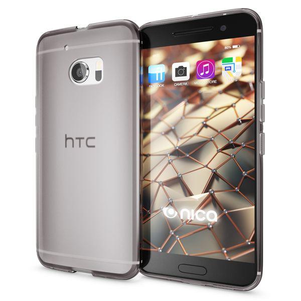 NALIA Handyhülle kompatibel mit HTC 10, Ultra-Slim Silikon Case Cover, Dünne Crystal Schutzhülle, Etui Handy-Tasche Back-Cover Phone Bumper, TPU Smartphone Gummihülle - Transparent Grau – Bild 1