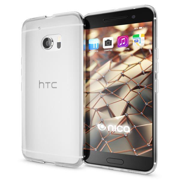 NALIA Handyhülle kompatibel mit HTC 10, Ultra-Slim Silikon Case Cover, Dünne Crystal Schutzhülle, Etui Handy-Tasche Back-Cover Phone Bumper, TPU Smartphone Gummihülle - Transparent Weiß – Bild 1