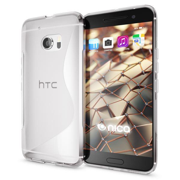 NALIA Handyhülle kompatibel mit HTC 10, Ultra-Slim Silikon Case Cover, Dünne Crystal Schutzhülle, Etui Handy-Tasche Back-Cover Phone Bumper, TPU Smartphone Gummihülle - S-Line Transparent – Bild 1