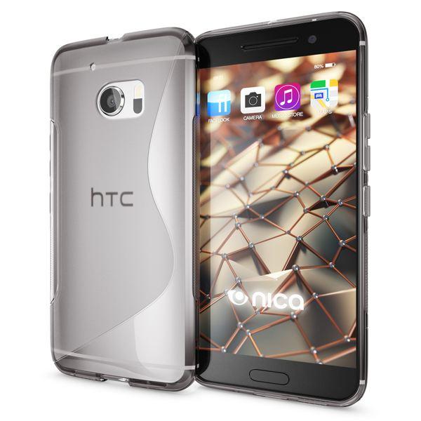 NALIA Handyhülle kompatibel mit HTC 10, Ultra-Slim Silikon Case Cover, Dünne Crystal Schutzhülle, Etui Handy-Tasche Back-Cover Phone Bumper, TPU Smartphone Gummihülle - S-Line Grau – Bild 1