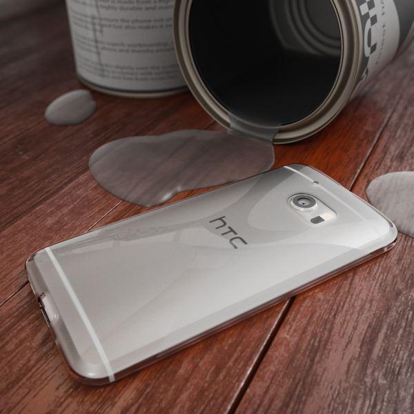 NALIA Handyhülle kompatibel mit HTC 10, Ultra-Slim Silikon Case Cover, Dünne Crystal Schutzhülle, Etui Handy-Tasche Back-Cover Phone Bumper, TPU Smartphone Gummihülle - X-Line Grau – Bild 4