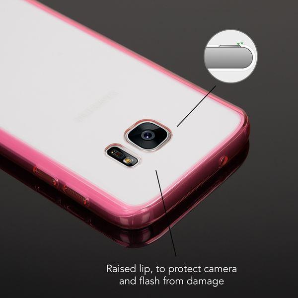 NALIA Handyhülle kompatibel mit Samsung Galaxy S7, Durchsichtiges Slim Silikon Case mit klarer Rückseite & Bumper, Crystal Schutzhülle Dünn Handy-Tasche Smart-Phone Back-Cover - Transparent / Pink – Bild 2