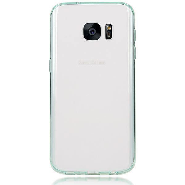 NALIA Handyhülle kompatibel mit Samsung Galaxy S7, Durchsichtiges Slim Silikon Case mit klarer Rückseite & Bumper, Crystal Schutzhülle Dünn Handy-Tasche Smart-Phone Back-Cover  - Transparent / Türkis – Bild 5