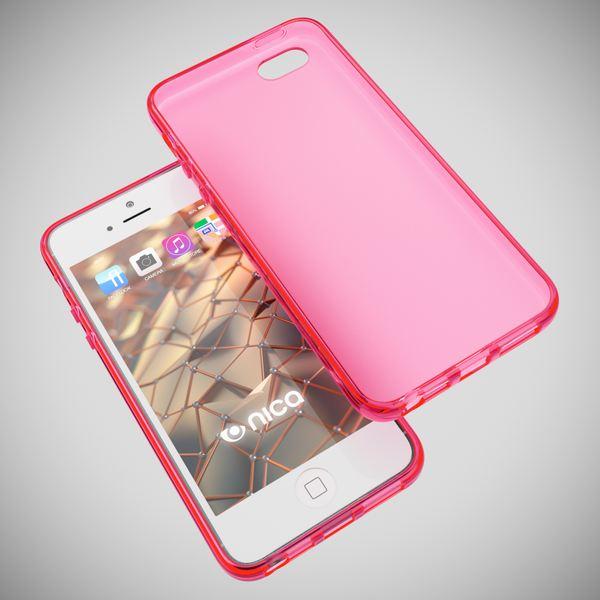 NALIA Handyhülle kompatibel mit iPhone 5 5S SE, Ultra-Slim Silikon Case Cover, Dünne Crystal Schutzhülle Etui Handy-Tasche Telefon-Schale Back-Cover Bumper, TPU Smart-Phone Gummi-Hülle - Matt Pink – Bild 3