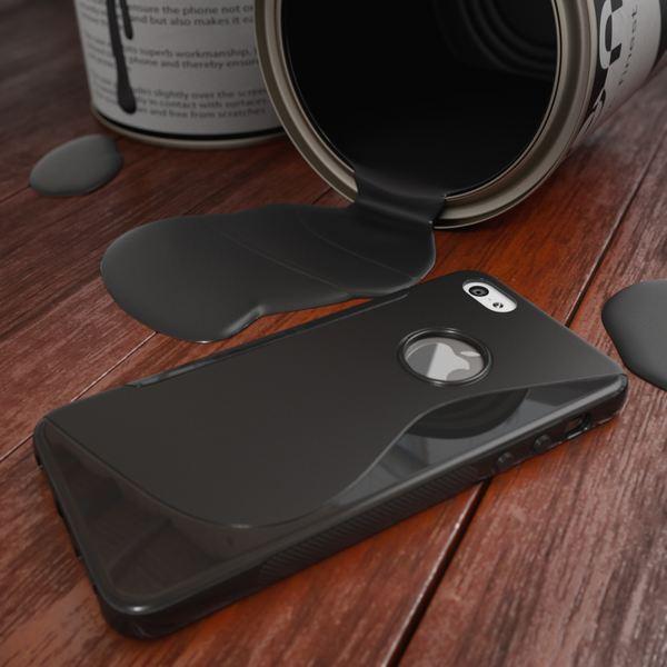 NALIA Handyhülle iPhone 5 5S SE, Ultra-Slim Silikon Case Cover, Dünne Crystal Schutzhülle, Etui Handy-Tasche Back-Cover Bumper, TPU Gummihülle für Apple i-Phone SE 5S 5 - S-Line Schwarz – Bild 4