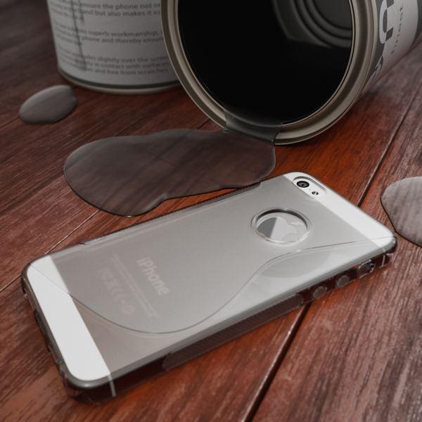 NALIA Handyhülle kompatibel mit iPhone 5 5S SE, Ultra-Slim Silikon Case Cover, Dünne Crystal Schutzhülle Etui Handy-Tasche Telefon-Schale Back-Cover Bumper, TPU Smart-Phone Gummi-Hülle - S-Line Grau – Bild 4