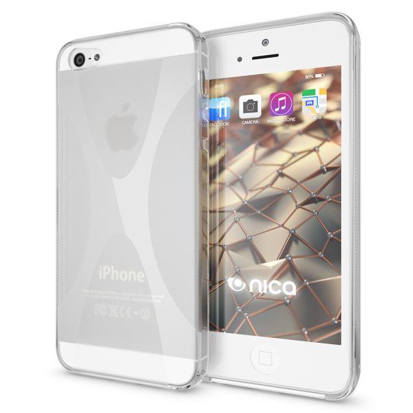 NALIA Handyhülle kompatibel mit iPhone 5 5S SE, Ultra-Slim Silikon Case Cover, Dünne Crystal Schutzhülle Etui Handy-Tasche Schale Back-Cover Bumper, TPU Smart-Phone Gummi-Hülle - X-Line Transparent – Bild 1