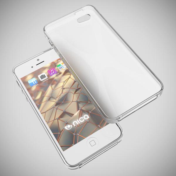 NALIA Handyhülle kompatibel mit iPhone 5 5S SE, Ultra-Slim Silikon Case Cover, Dünne Crystal Schutzhülle Etui Handy-Tasche Schale Back-Cover Bumper, TPU Smart-Phone Gummi-Hülle - X-Line Transparent – Bild 3